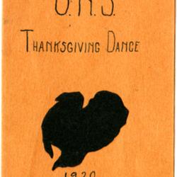 Dance Card, 1920, Thanksgiving Dance