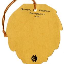 Dance Card, 1925, Junior Formal