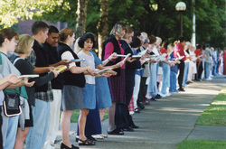 Book Brigade Line of Students