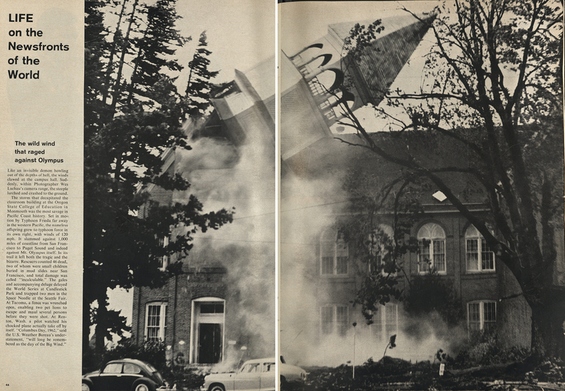 Life Magazine Spread of Campbell Hall Tower Falling