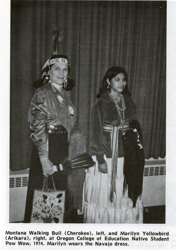 Montana Walking Bull and Marilyn Yellowbird at OCE Native Student Pow Wow 1974.jpg