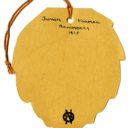 Dance Card, 1925, Junior Formal