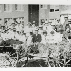 Students Ride on Haycart