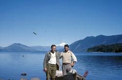Mario Nahuel and Lorenzo on south shore of Lake Caburgua